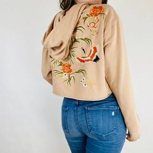 Urban Outfitters Floral embroidered cropped Hoodie
